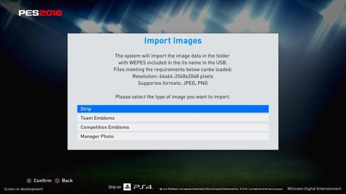 PES 2016_Edit Mode  ML  myClub_01-import images directly from a USB